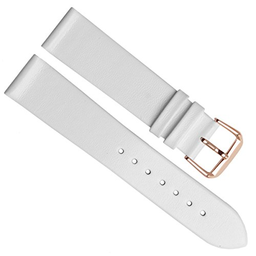 20mm Handmade Vintage Cowhide Leather Watch Strap/Watch Band (Gold Buckle/White)