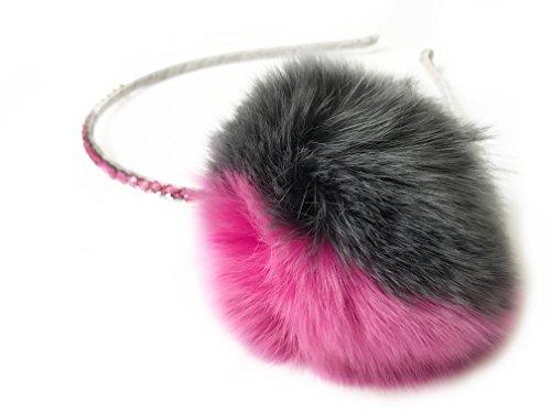 Bari Lynn Girls' Rhinestone and Fox Fur Pompom Headband Multitone, Silver/Pink ()