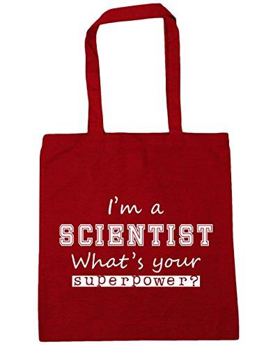 HippoWarehouse I'm A Wissenschaftler What's Your Superpower? Einkaufstasche Fitnessstudio Strandtasche 42cm x38cm, 10 liter - Klassisch Rot, One size
