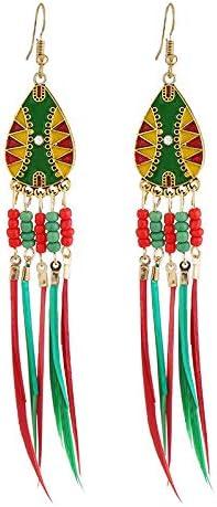Estilo europeo y americano pendientes largos de moda Mizhu bohemio multicolor borla pendientes femeninos