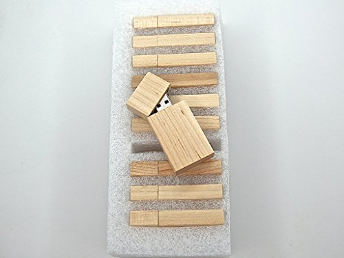 10 8GB Flash Drive – Bulk Pack – USB 2.0 Wooden Maple Stick Design – 8 GB Flash Drive