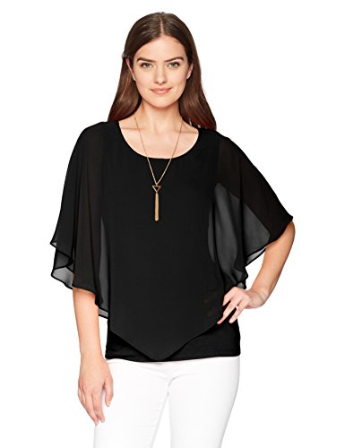 - AGB Women's V Front Popover Top with Necklace, Black, S