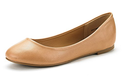 Dream Pairs Women's Sole Simple Nude Pu Ballerina Walking Flats Shoes - 7 M - Usa Nude