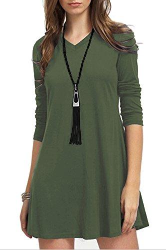 TOPONSKY Women's Casual Plain Long Sleeve Simple T-shirt Loose Tunic Mini Dress
