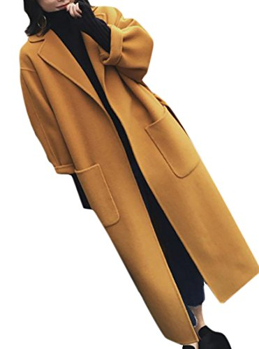 Cromoncent Womens Stylish Open Front Belted Long Trench Coat Woolen Pea Coat Yellow M