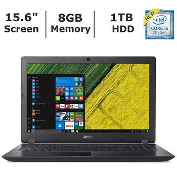 Acer Aspire 3 15.6″ HD widescreen LED-backlit display Laptop (2018 Newest), Intel Core i5-7200U Processor 2.5GHz, 8GB RAM, 1TB HDD, 802.11ac, Bluetooth, HDMI, Webcam, Windows 10