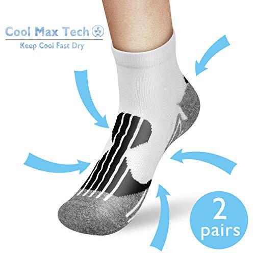 AIKER Running Socks,Athletic Socks Mens Ankle Socks Women Socks Men Pack Low Cut for Men's Women's Shoes Size 7-12 Cool Max Tech Moisture-Winking Deodorization(2Pairs)