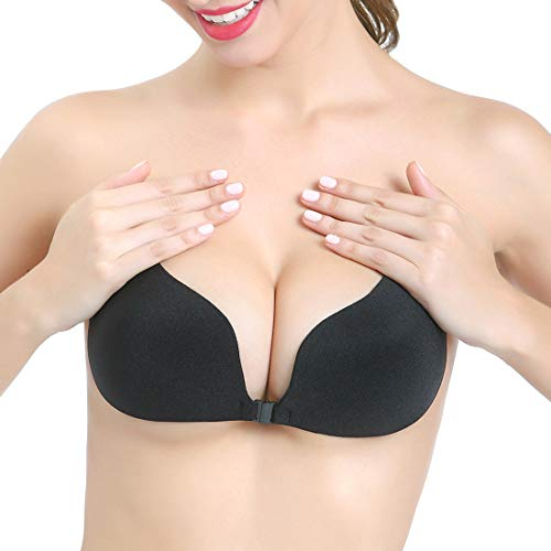 Aedo Strapless Bra for Women, Self Adhesive Invisible Pasties Sticky Push Up Backless Cleavage Cover (Black, Cup B) - Half Open Back Dress