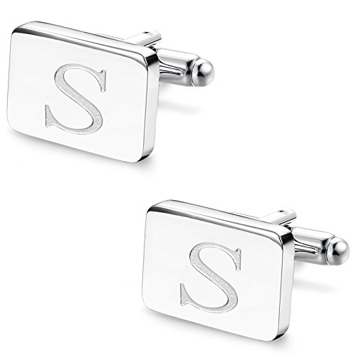 Udalyn 1 Pair Mens Stainless Steel Alphabet Cufflinks Personalized Cufflinks For Business Wedding Shirt Silver-tone (Personalized Square Cufflinks)