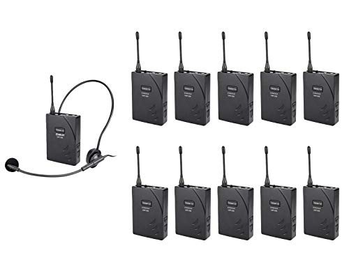 (EXMAX UHF-938 UHF Acoustic Transmission Wireless Headset Microphone Audio Tour Guide System 433MHz for Church Translation Teaching Travel Simultaneous Interpretation- 1 Transmitter and 10 Receivers)