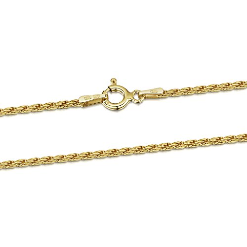 18K Gold Plated on 925 Sterling Silver 1.5 mm French Rope Chain Necklace Length 16