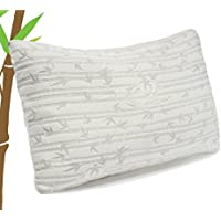 Memory Foam Luxurious Bamboo Gel Pillow by Clara Clark (Queen 1 Pack)