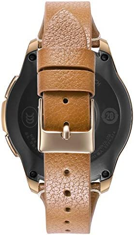 Areziir 20mm Slim Leather Bands Compatible with Samsung Galaxy Watch Active 40mm & Galaxy Watch 42mm Smart Watch, Genuine Leather Cute Replacement Band for Garmin Vivoactive 3 (Brown/Rose Gold) 41rWoOVzI3L
