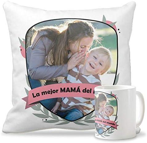 Getsingular Pack Taza + Cojín con Foto Día de la Madre | Tazas de cerámica Cojín