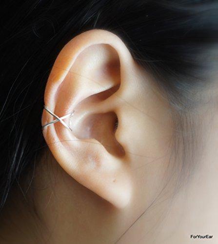 79)Criss Cross Ear Cuff - Silver