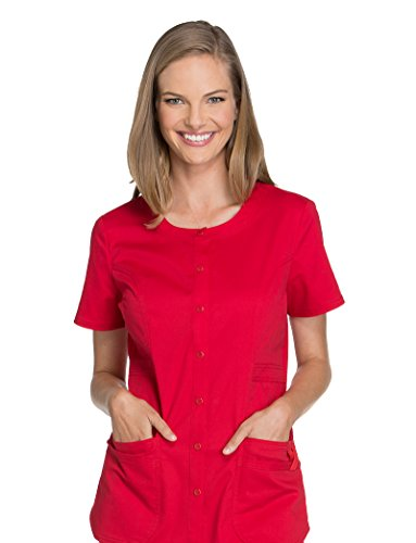- Cherokee Core Stretch Workwear Women's Round Neck Solid Scrub Top Large Red