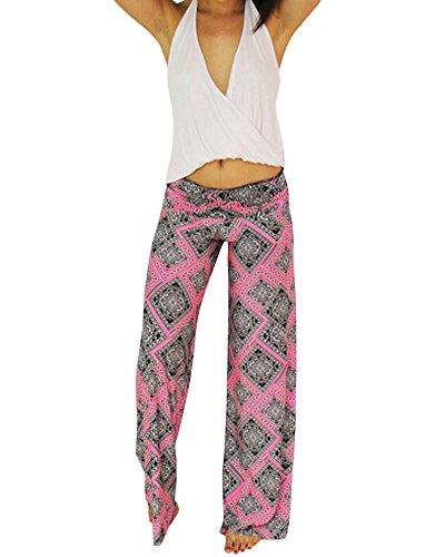 Impresión Pierna Ancha Estilo Modelada Floral Pantalón De Pierna Ancha Sueltos Pantalones Del Deporte Como en la Foto