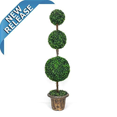 - AMERIQUE Gorgeous 4 Feet Dense Triple Ball Boxwood Topiary Artificial Tree Silk Plant with UV Protection, with Decorative Pot, Feel Real Technology, Super Quality, 4' Green