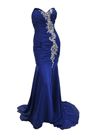 Moonar Chiffon Strapless Sweetheart Straight Prom Formal Gown Party Bridesmaid Wedding Dress Blue Size 10