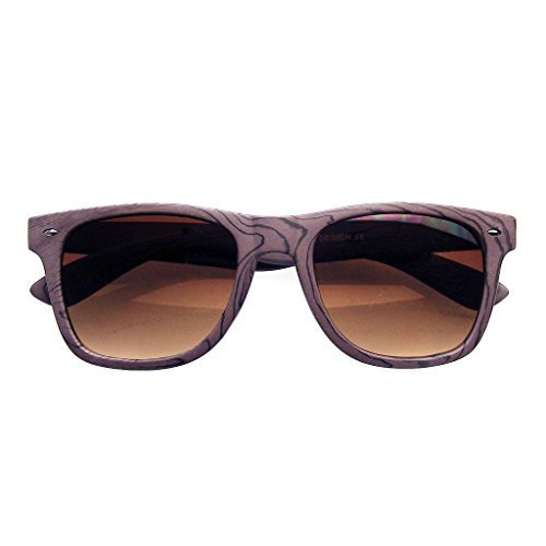 Unique Style Indie Fashion Wood Print Retro Horned Rim Sunglasses (Brown - Indie Mens Fashion