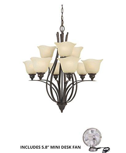 Feiss F2053/6+3GBZ, Morningside Glass Chandelier Lighting, 9LT, 900watt, Bronze (Includes Mini Desk - Morningside Ceiling Lighting