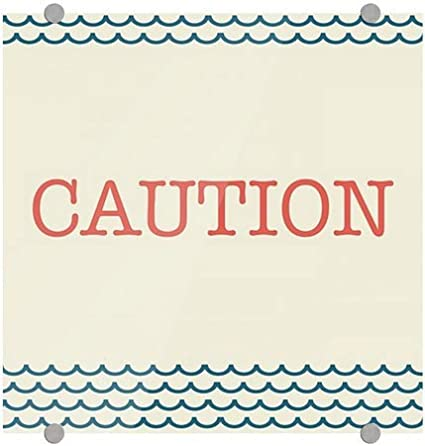 16x16 Caution CGSignLab Nautical Wave Premium Acrylic Sign