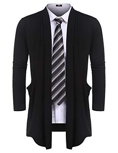 (URRU Men's Ruffle Shawl Collar Cardigan Sweater Long Length Overcoat with Pockets Black M)