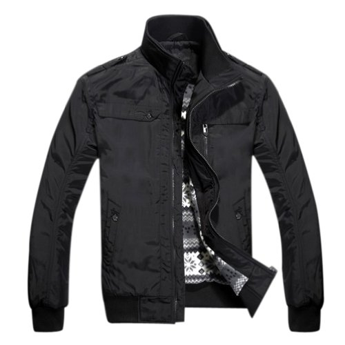 Hee Grand Men's Short Stand Collar Quilted Jacket Chinese M Black
