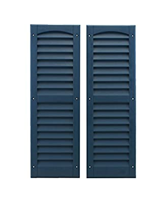 """Louvered Shed Shutter or Playhouse Shutter, Blue 9"""" X 27"""", 1 Pair"""