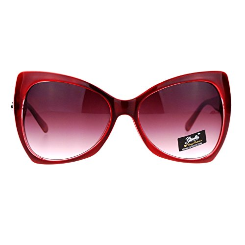 (SA106 Unique Oversized Cat Eye Hybrid Butterfly Sunglasses Burgundy )