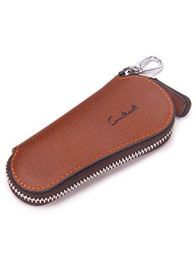 Contacts Men's Genuine Leather Car Keychain Key Holder Bag Zipper Case Remote Wallet Bag Brown