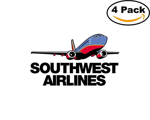 Airlines Southwest Airlines Logo1 4 Stickers 4X4 Inches Car Bumper Window Sticker Decal