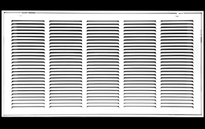"""36"""" X 20 Steel Return Air Filter Grille for 1"""" Filter - Fixed Hinged - Ceiling Recommended - HVAC Duct Cover - Flat Stamped Face - White [Outer Dimensions: 38.5 X 21.75]"""