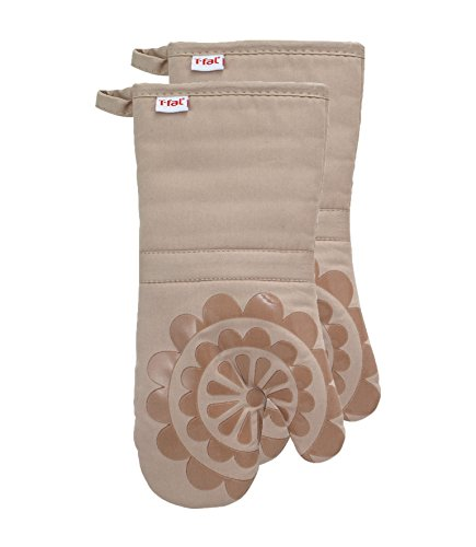 T-fal Textiles Silicone Printed Medallion 100% Cotton Twill Heat Resistent Non-Slip Grip Oven Mitt, 12.75 inches x 7 inches, Set of 2, Sand