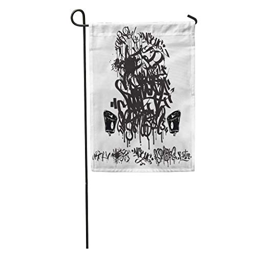 zhurunshangmaoGYS Garden Flag City Graffiti Marker Tags Writing Abstract Black Calligraphic Cap Cool Home Yard House Decor Barnner Outdoor Stand 12x18 Inches Flag