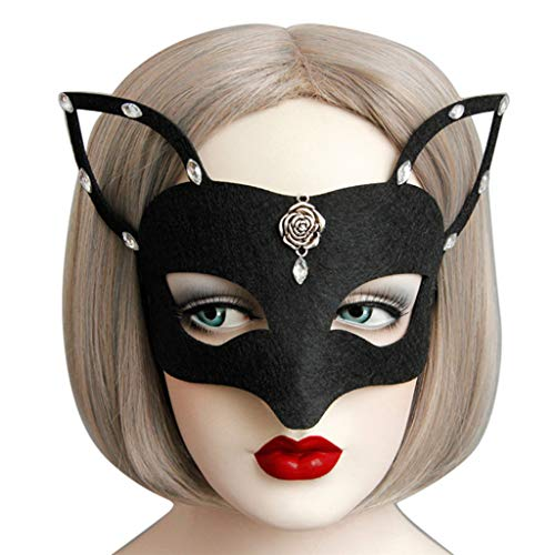 Amaping Women Clearance Masquerade Lace Mask Catwoman Halloween Black Cutout Prom Party Mask Accessories (Black) -