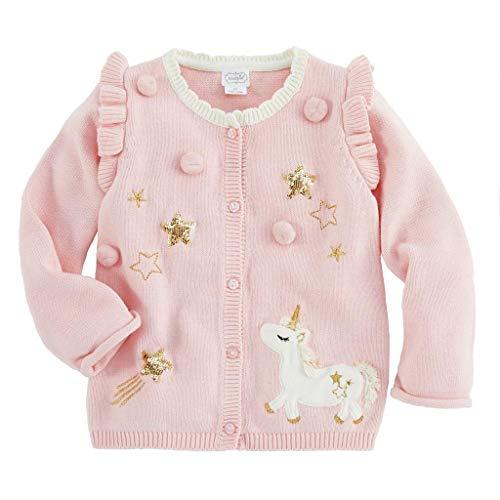 Mud Pie Kids Baby Girls Magical Unicorn Dreams Pink Cardigan Sweater Medium (2T-3T)