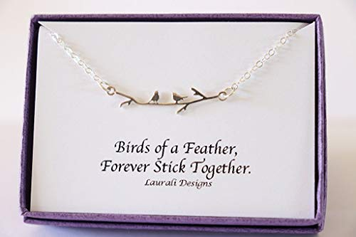 (Tiny Birds on Branch Sterling Silver Charm Necklace Wren)