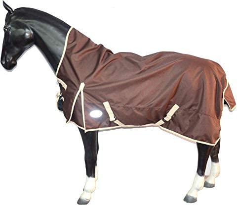Arts Home 1200D Equestrian Waterproof Rain Sheet Turnout Horse Rug HALF Neck Brown 60