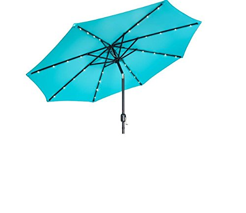Trademark Innovations Deluxe Solar Powered LED Lighted Patio Umbrella - 9' - (Peacock Blue)