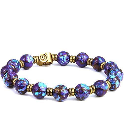 (BeachBu Designer Jewelry The Sea Star Bracelet in Brass - Purple Turquoise with Bronze Matrix and Brass Natural Semi-Precious Gemstone Round Beads Stretch Cord 7-7.25 inches)