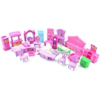 22PCS Mixed Dollhouse Play Set, Plastic Model Furniture Styling Miniature Rooms Accessories Baby Kids Pretend Play Toys…