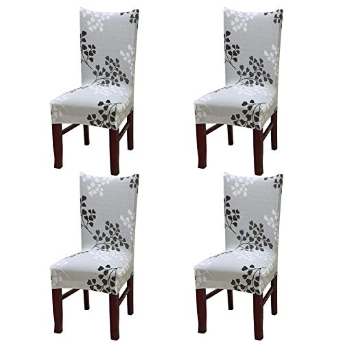 Cotton Dining Room Chair - Nigecue Dining Chair Cover,Super Fit Stretch Removable Washable Short Chair Protector Cover with Printed Pattern,Seat Slipcover for Home,Hotel,Dining Room,Banquet Wedding,Party,4 Pack