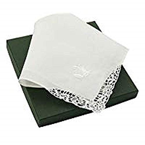 - Thomas Ferguson Women's Small White Linen Lace Handkerchief in Wedding Bell Design 10