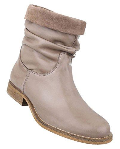 Damen Stiefeletten Schuhe Stiefel Leder Boots Schwarz Beige Rot 36 37 38 39 40 41 Beige