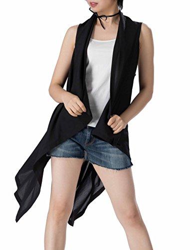 Women's Summer cardigan vest Asymmetric hem Sleeveless Open front