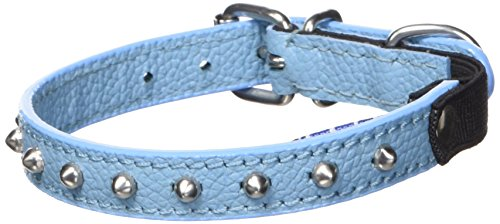 Angel Pet Supplies Leather Studded Cat Collar with Safety Elastic Stretch, 12 by 1/2-Inch, Blue