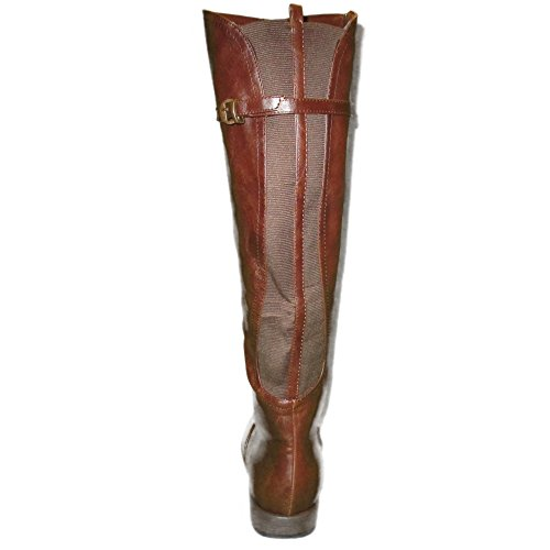 Bamboo Womens Fashion Wide-Calf Knee High Riding Boots Zipper and Elastic Brown KvDmuwtd