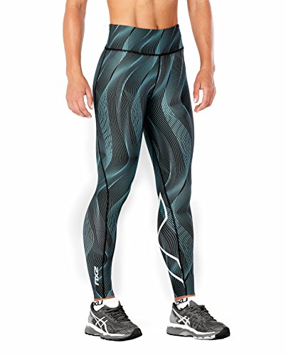 2XU Women's Mid-Rise Print Compression Tights (Aruba Blue Vertical Curve/White, Medium)