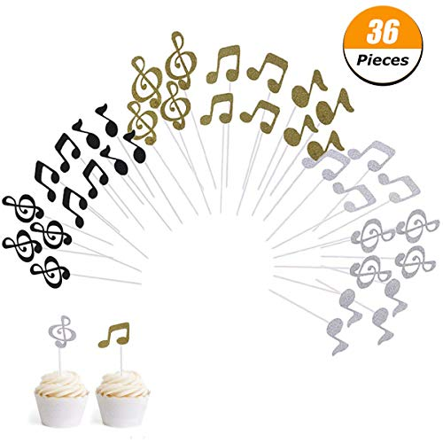 Wangyue Cupcake Topper Music Symbol Notes Decorations Party Supplies for Happy Birthday Cake 36Pcs -